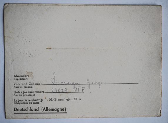 Altengrabow stalag xi a dos lettre 04 04 44