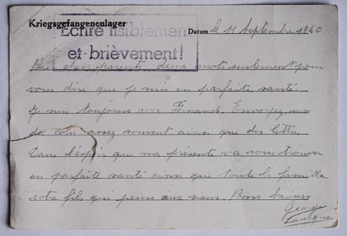 Bolchot stalag vi f lettre 11 09 42
