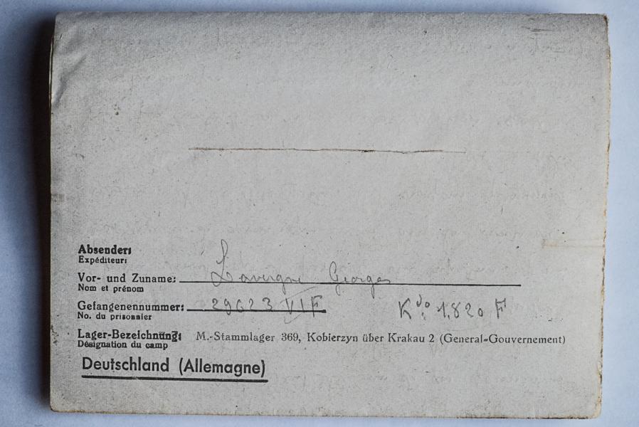 Kobierzyn stalag 369 k 1820 f dos lettre 16 01 44