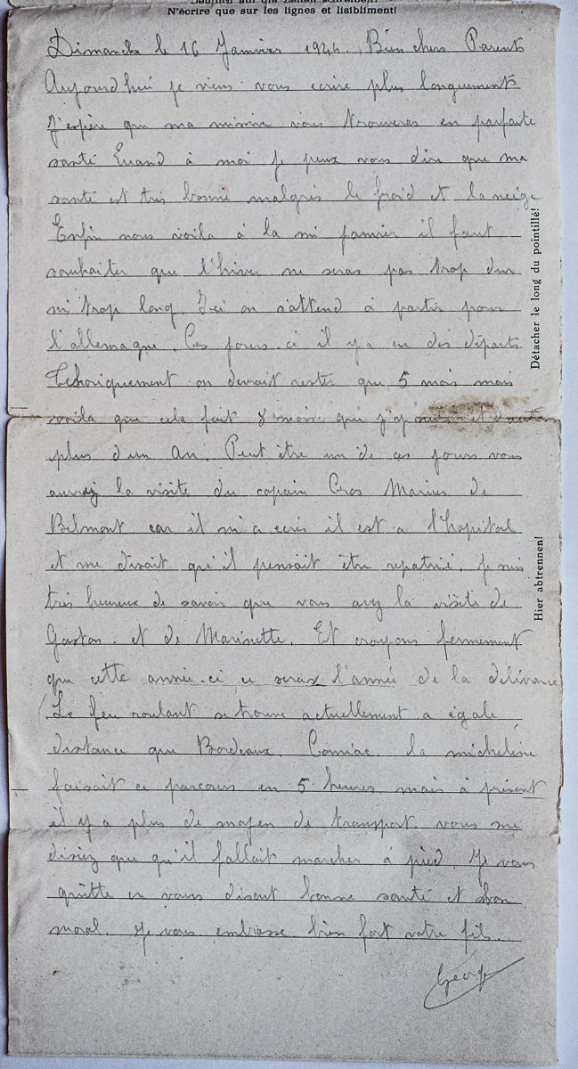 Kobierzyn stalag 369 k 1820 f lettre 16 01 44