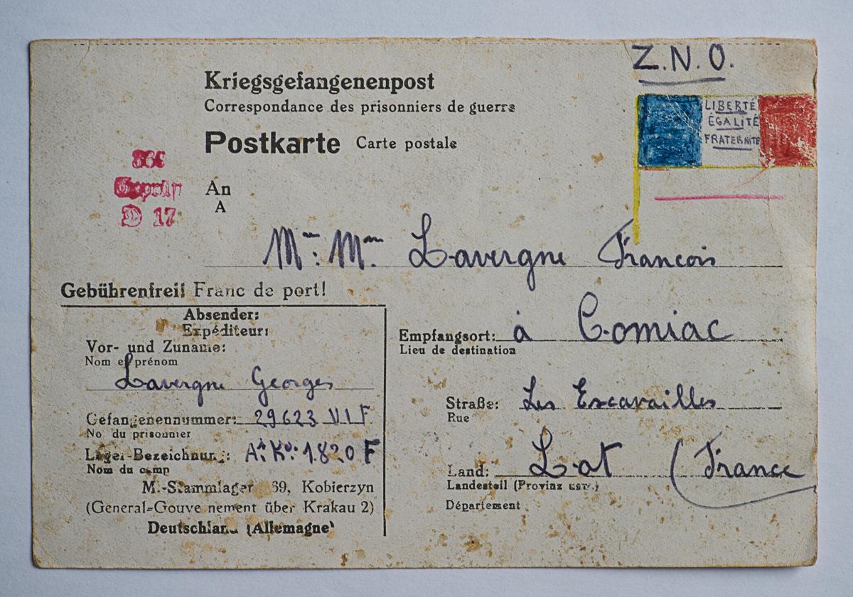 Kobierzyn stalag 369 k 1820f enveloppe lettre 25 07 43