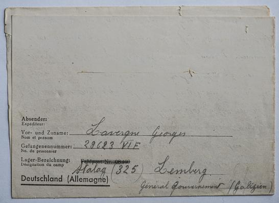 Lemberg stalag 325 enveloppe exp 15 06 43 lettre 06 06 43 1