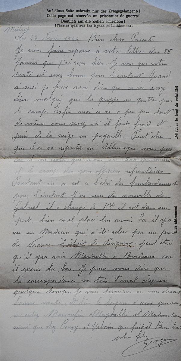 Mielec lettre 27 02 44